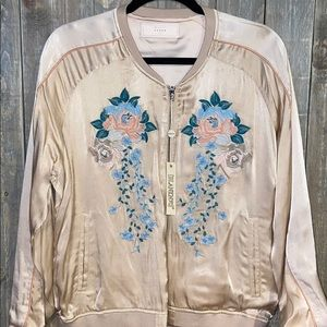 BLANK NYC Embroidered Satin Bomber Jacket